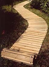 Roll Out Wooden Walkways Over Grass, 45° Curves.