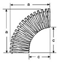 36'' W Curve, 90°, No Spacing, Teak/Ipe