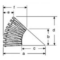 36'' W Curve, 45°, Wide Spacing, PT