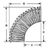 30'' W Curve, 90°, Wide Spacing, Teak/Ipe